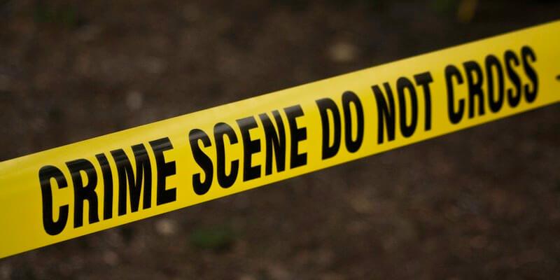 faixa alertando sobre a cena de um crime